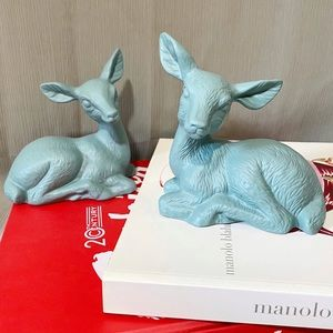 Upcycled 2 PC Set of Doe Figurines in Coastal Sage